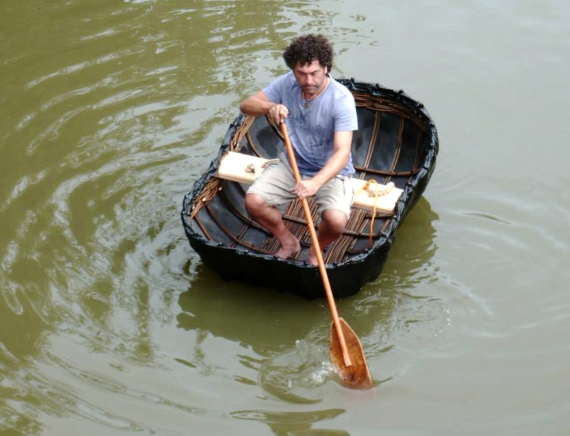 coracle in the water